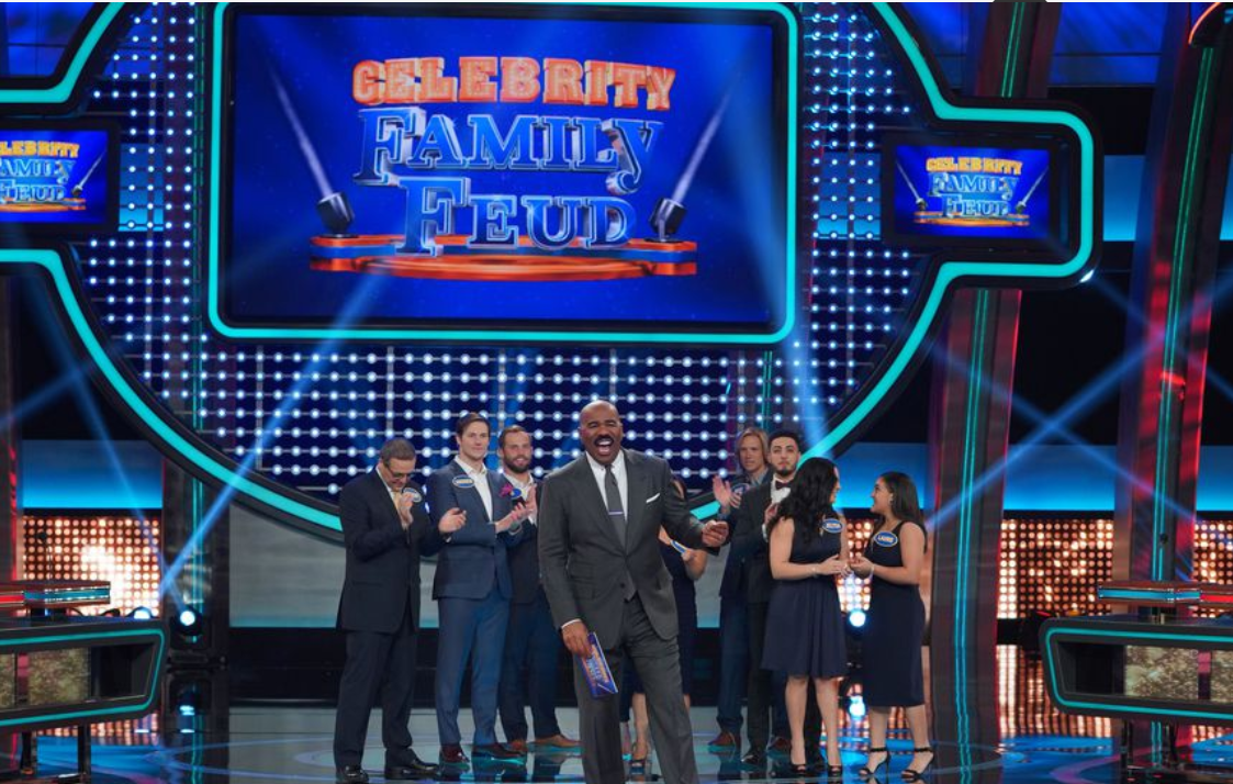 """4a15f69b91e Don t miss Celebrity Family Feud """"Steph Curry vs. Chris Paul and Laurie  Hernandez vs. Shawn Johnson East """" airing Sunday"""